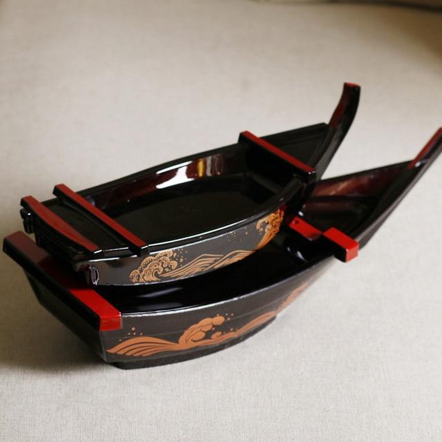 35/48/53CM Japanese ABS Plate Black Sashimi Boat Serving Tray Japanese Restaurant Sushi Boat