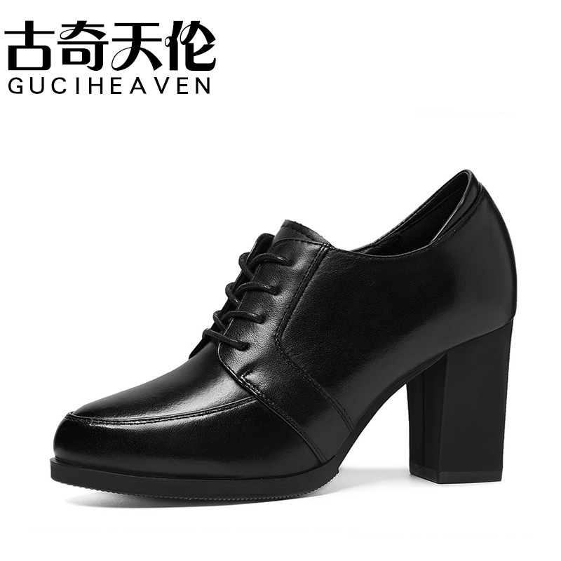 Gucci Tianlun 2019 Winter Round-Toe Chunky Heel Short Boots Low Top Lace-up Women's Boots Waterproof Platform WOMEN'S Shoes 8890