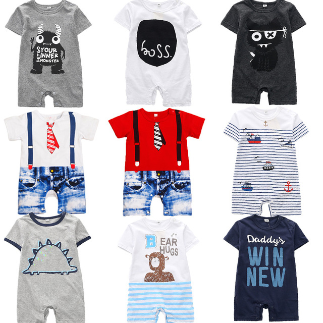 Striped Casual Clothes Themed Short Sleeve Summer Baby Romper 2