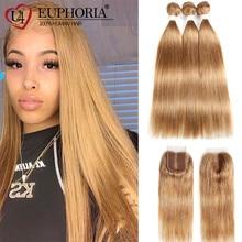 Straight-Bundles Closure Human-Hair EUPHORIA Blonde Brazilian 27 with Brown Burgundy