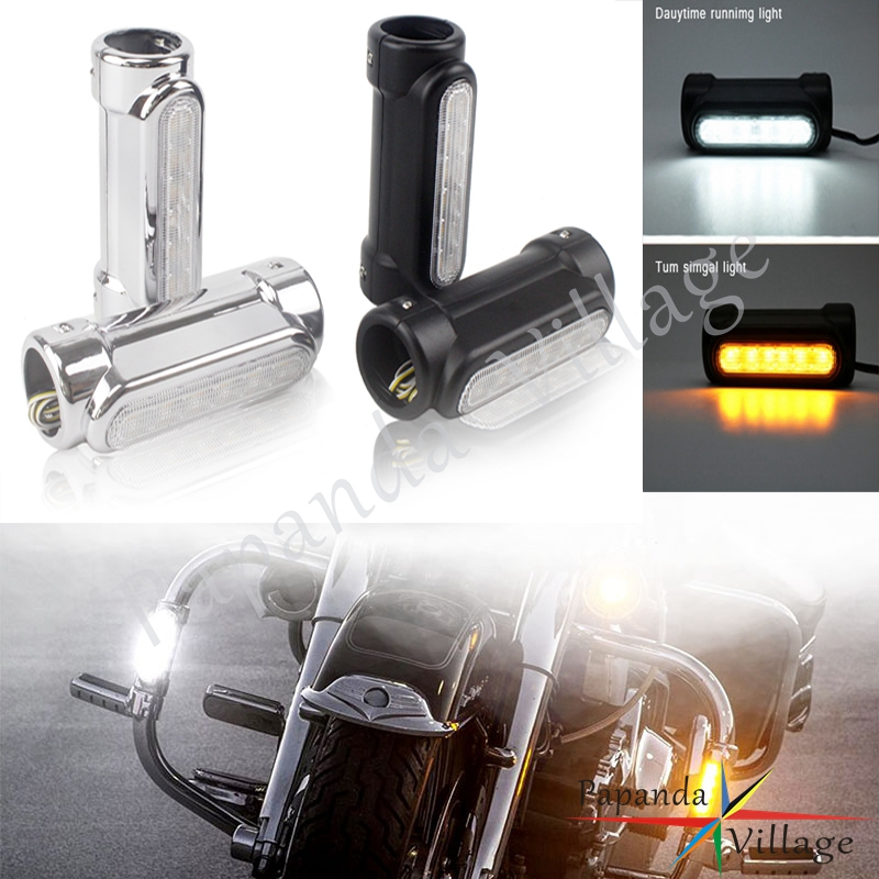 Motorcycle LED Highway Engine Guards Driving Indicators For Harley Electra Glide 1.25