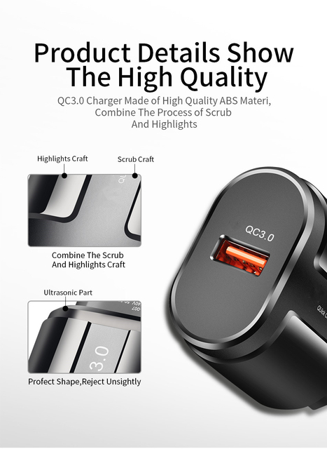 3A Quick Charge 3.0 USB Charger For iPhone 11 Pro 8 EU Wall Mobile Phone Charger Adapter QC3.0 Fast Charging For Samsung Xiaomi 4