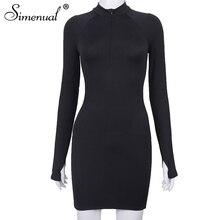 Simenual Black Zipper Casual Bodycon Mini Dresses Women Long Sleeve Fashion Autumn Skinny MIni Dress 2020 Slim Birthday Outfits