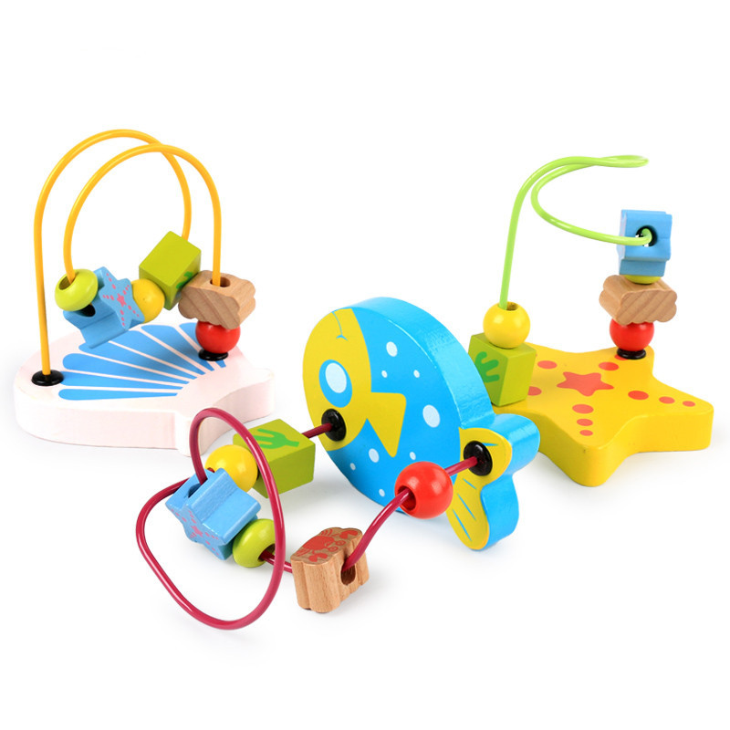 Wooden Children Mini Small Bead-stringing Toy Bead Toy Aged 1-2 Years Baby Finger Flexible Interactive Toy