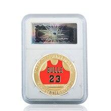 Michael Jordan-decoración del hogar, regalo de la mejor colección de monedas de oro para seguidores de JORDAN con carcasa de acrílico, Estados Unidos