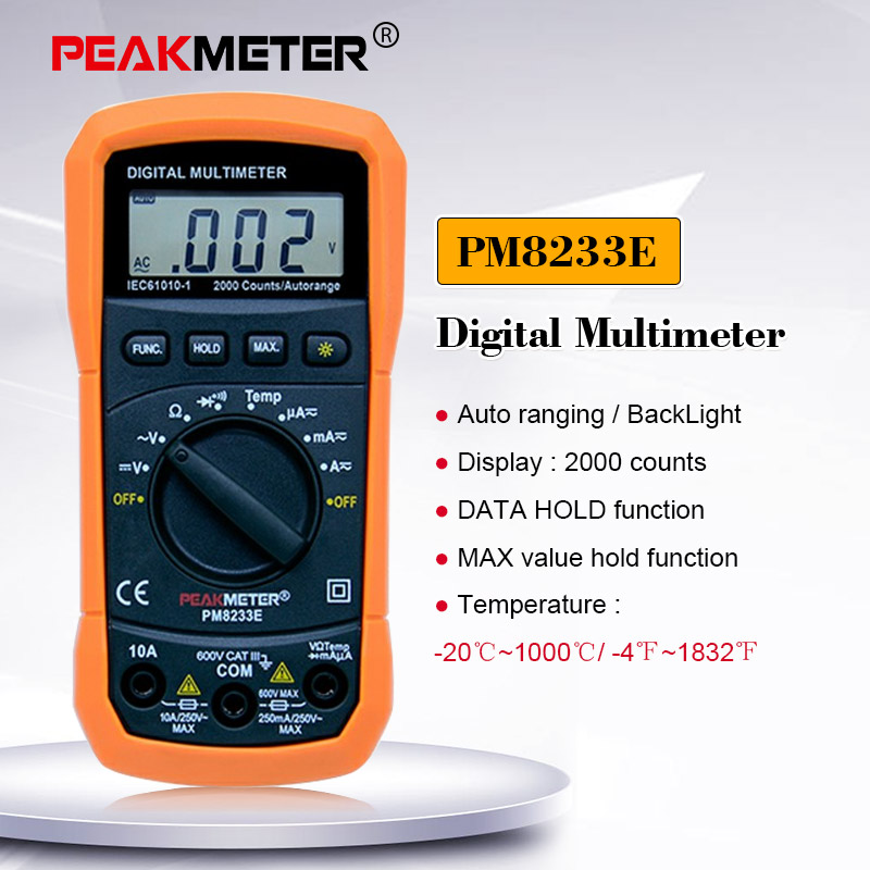 PEAKMETER PM8233E портативный многофункциональный цифровой мультиметр постоянного тока Вольтметр температуры мультиметр тестер