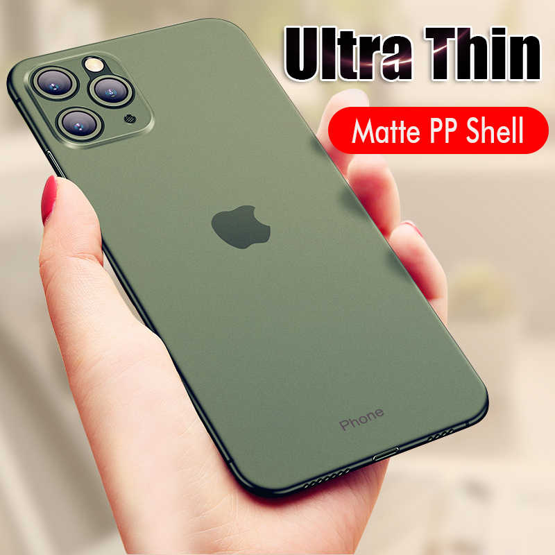 Lujosa funda ultrafina de PP de 0,26mm para iphone 11 Pro Max X XR XS mate Phone funda para el iphone 7 8 6 6s PLus fundas totalmente a prueba de golpes