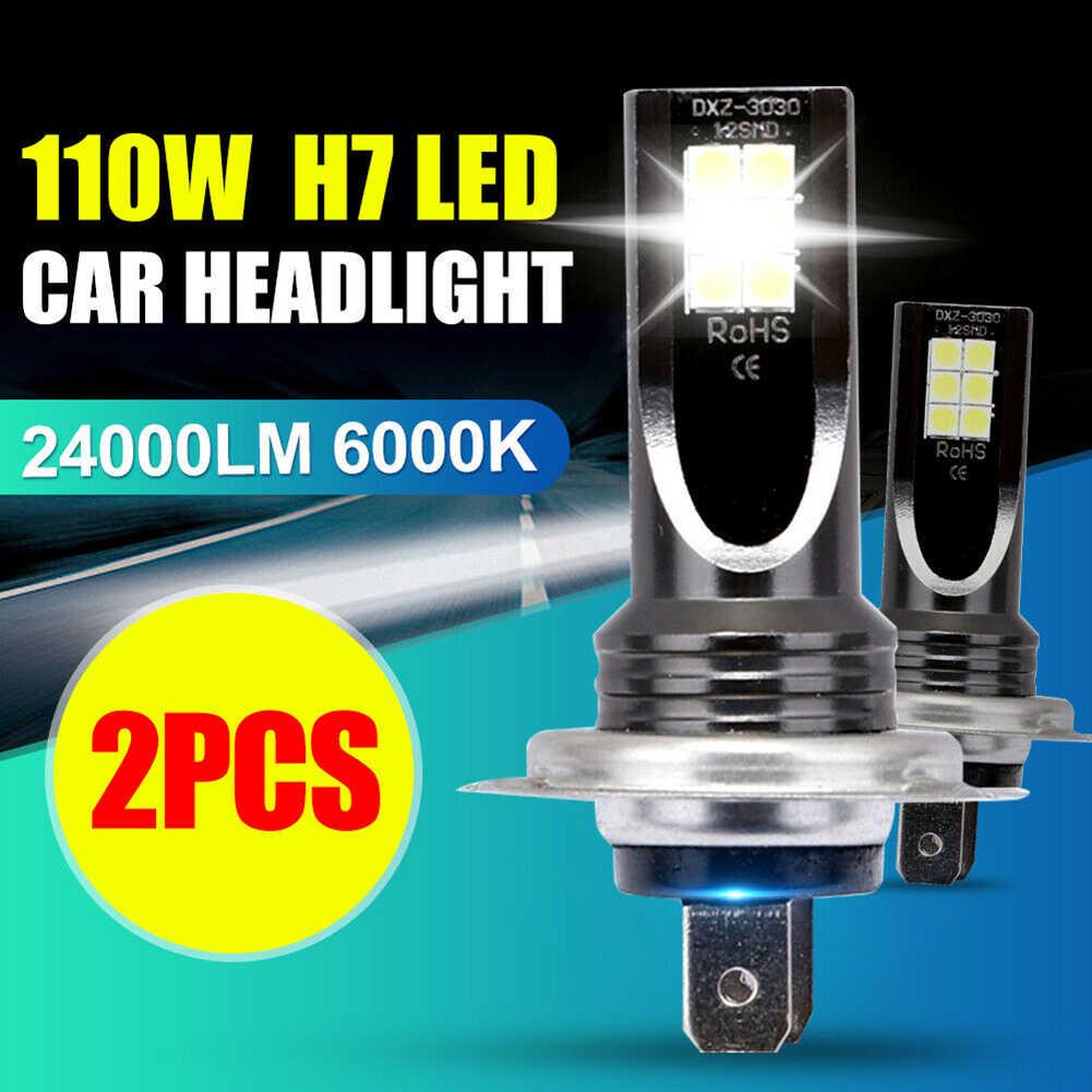 2 قطعة H7 6000K 110 واط 10000Lm شعاع عدة LED الضباب ضوء لمبة يوم تشغيل ضوء IP68 LED سيارة العلوي تحويل غلوب لمبات كشافات