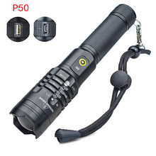 P50 LED Flashlight USB Rechargeable Torch 5 Modes Lighting Waterproof Ultra Bright for Outdoor Camping Bicycle