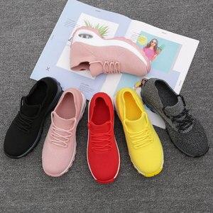 Image 5 - MWY Flying повседневная обувь на танкетке, женские кроссовки на высоком каблуке, женская обувь на платформе, уличная прогулочная обувь