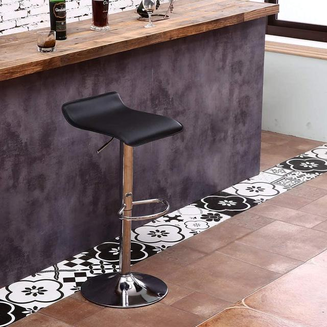 Set of 4 Modern Dining Chairs Soft PU Leather Counter Bar Stools Adjustable Chrome Swivel Stool for Kitchen Pub Salon Office 2