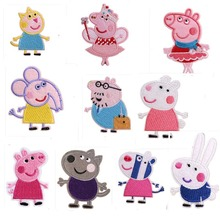 50pcs/lot  Pink Embroidery Patches Applique Cute Animals Piglet Pigs Cartoon Clothing Accessories Heat Transfer Badge Iron