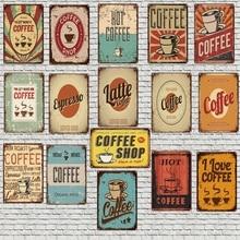 Hot Coffee Sign  Shabby Chic Metal Plate Wall Cafe Shop Home Pub Art Kitchen Bar Vintage Decor Cuadros 30X20CM LC-7025A