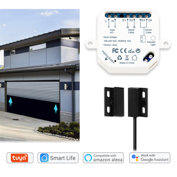 Tuya Smart Life Garage Door Sensor Opener Controller WiFi Switch Amazon Alexa Echo Google Home DIY Smart Home App Alert No Hub