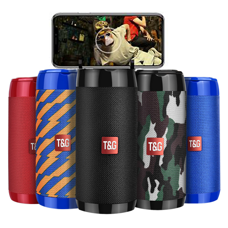 TG113C Column Portable Bluetooth Mini Speaker with FM Radio TF Card AUX Cable Wireless Loundpeakers &Phone Holder 9 Colors(China)