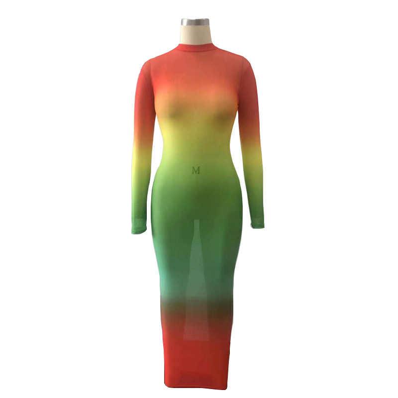 Echoine сексуальное разноцветное длинное платье с градиентом, прозрачное, с длинными рукавами и круглым вырезом, хорошо тянется, облегающее женское вечернее платье