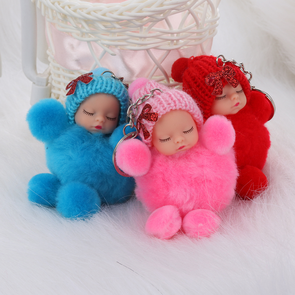 1 Pcs Cute Sleeping Baby Bowtie Fluffy Pompom Fur Plush Doll Keychain Keyring Key Ring Women Girls Bag Pendant Jewelry