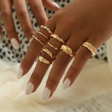 9 шт./компл. богемное модное кольцо с камнем простое геометрическое Золотое кольцо на палец набор женские изысканные вечерние ювелирные изделия аксессуары