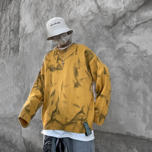 Hip Hop Tie-dye Sweater Men Warm Fashion Print Casual Knit Sweater Man Streetwear Loose Long-sleeved Pullover Men Sweter Clothes