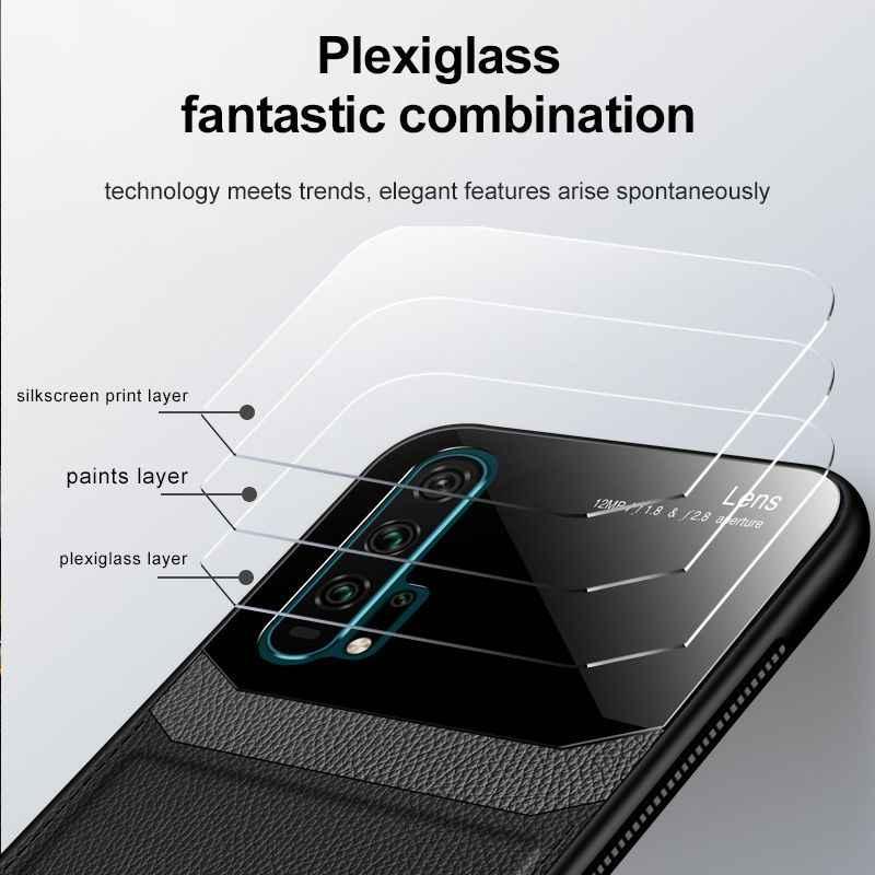 Leather Case Huawei untuk Kehormatan 20 Pro Silicon Mewah Anti Jatuh Kasus untuk Kehormatan 20 Lite V20 V10 Note10 Cermin acryl Cover