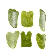 Verde jade natural guasha scrapping placa gua sha massager rosto meridiano scrapping placa pedaço ferramentas de massagem braço ferramenta de massagem