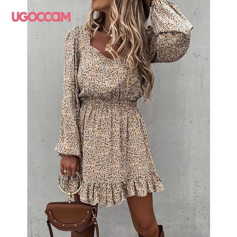 UGOCCAM Kleid Lange Hülse Frau Kleid Elastische Frauen Kleid Rüschen Sping Herbst Kleid Frauen Print Kleid 2021 Femme Robe Vestidos