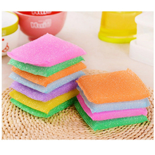 4Pcs Kitchen Nonstick Oil Scouring Pad Cleaning Cloth Washing To Wash Towel Brush Bowl Sponge