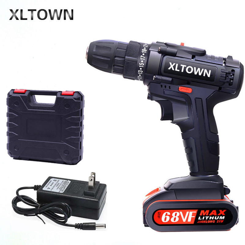 XLTOWN 21V Impact Drill Rechargeable Electric Screwdriver Multifunction Household Hand Drill Lithium Battery Power Tool Drill