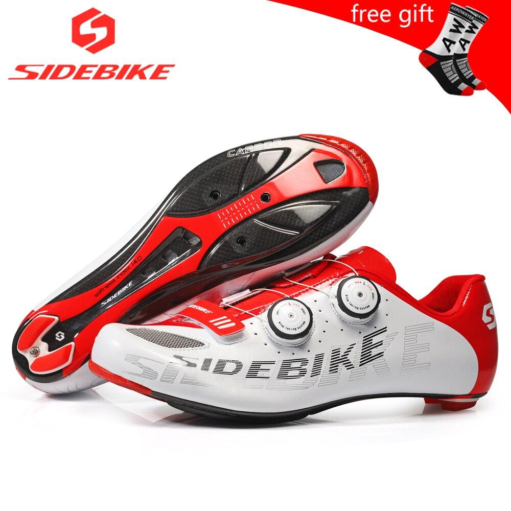 Обувь для велоспорта sidebike, мужская обувь для гонок, углеродная обувь, дорожный велосипед, ультралегкие самозакрывающиеся велосипедные крос...