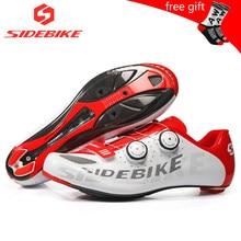 Sidebike ciclismo de estrada homens sapatos de corrida sapatos de bicicleta de estrada de carbono ultraleve auto-bloqueio de bicicleta sneakers respirável profissional
