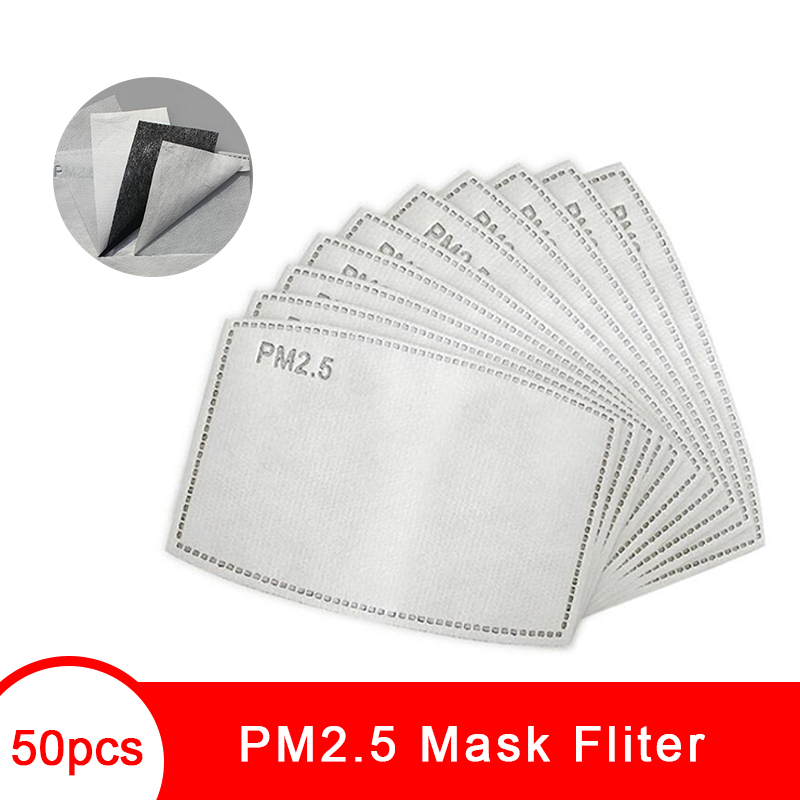 PM2.5 Anti Dust Fliter Paper 5 Layers Activated Carbon Filter Papers Protective Face Mouth Mask Pad Health Care For Women Men