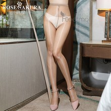 Saroosy 2021 nova sexy óleo brilhante brilhante t virilha collants para mulheres uma linha virilha alta elástica meias de cintura alta