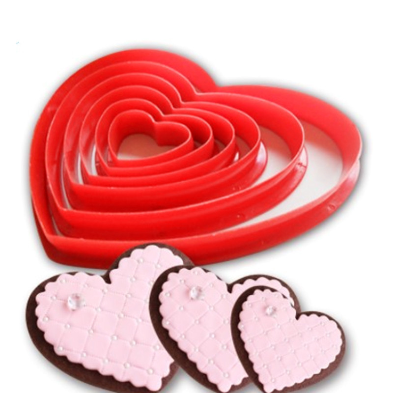 6pcs/set Heart Shaped plastic Cake mold cookie cutter Fondant biscuit stamp Sugar Craft cake decorations Moulds Baking Tools