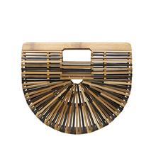 Western style semicircle bamboo makeup bag hollowed-out stre