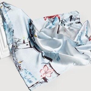 Image 3 - 65*65cm Square Scarf Silk Neckerchief 100% Hangzhou Silk Kerchief Wraps for Ladies Printed Bandana Real Silk Square Neck Scarf