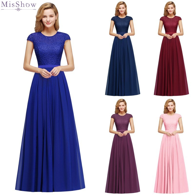 Long Royal Blue Pink Purple Bridesmaid Dresses 2020 Chiffon Brides Maid Wedding Party Guest Gown Cheap robe demoiselle d'honneur