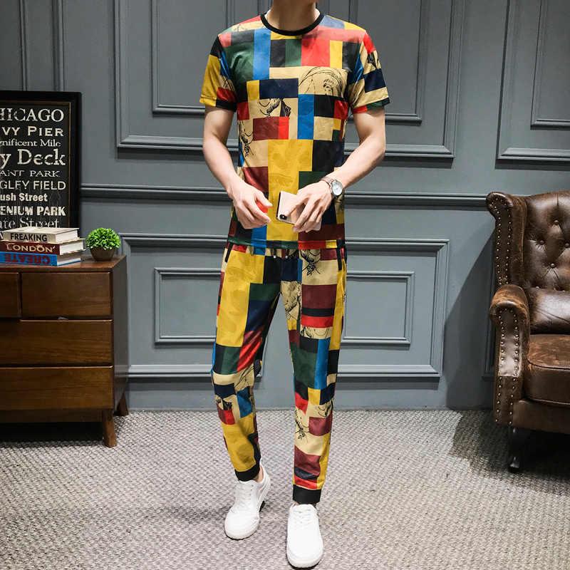 2020 marke Casual Anzüge Plaid Print Trainingsanzug Männer 2Pcs T-shirt Jogginghose Streetwear Nachtclub Partei Social Sets Männer Kleidung