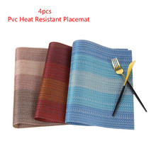 4pcs Pvc Table Bowl Mats Washable Rectangular Placemats Anti-skid And Heat-Insulation Coaster Pads Home Heat Resistant Placemat calico pattern coaster 4pcs