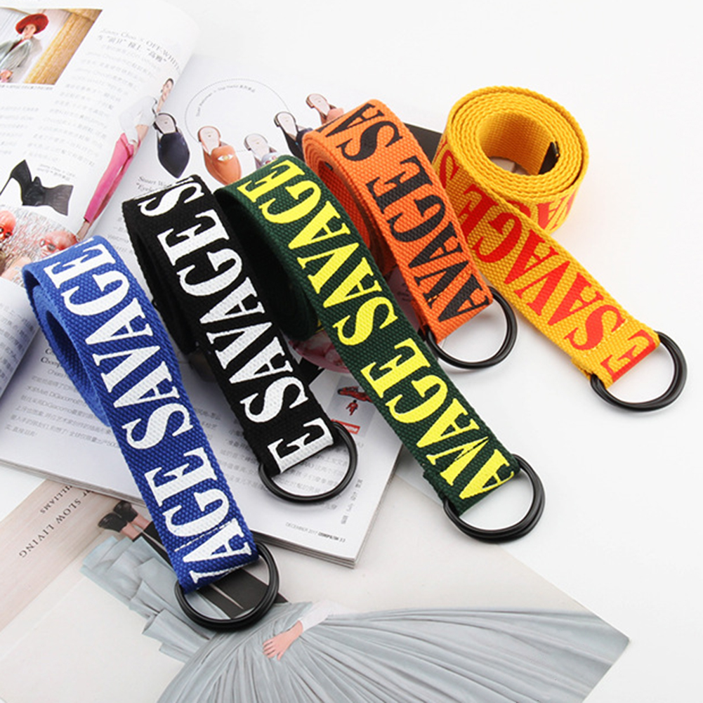 2020 Fashion Harajuku Canvas Wide Belt Women Men Student Jeans Letter Printed Long Belts Double D Ring Buckle Waistband