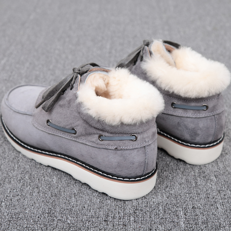 Top Quality Fashion Beckham snow boots for men lace up winter shoes real sheepskin leather nature wool fur ankle short boots - 6