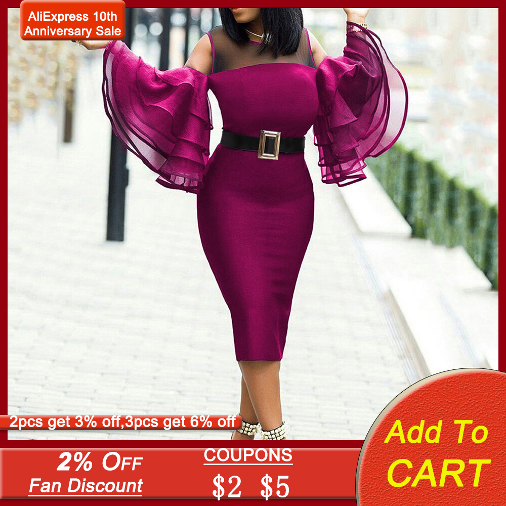 Tiered Ruffled Sleeve Red Cocktail Party Dress 2020 Summer Bodycon Women Dresses Sexy Mesh Patchwork Midi Plus Size Vestidos