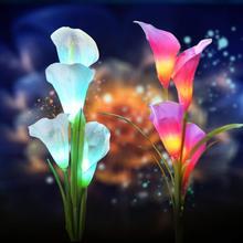 Солнечный общий Калла лампа Красочный светодиодный праздничный фонарь для моделирования наружное украшение газонная лампа встроенные лампы для двора праздничный L