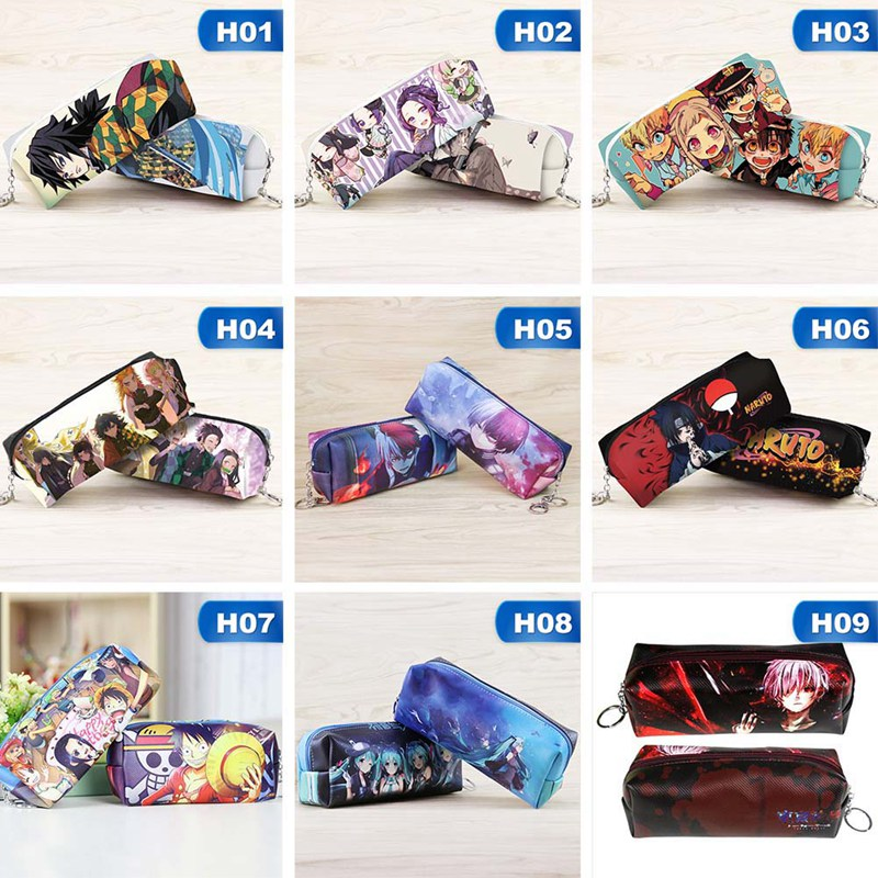 1Pcs Anime Toilet-Bound Hanako-kun Naruto Student Pen Bag High-capacity Pencil Case Stationery Storage Bags Learning Supplies