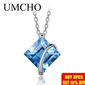 Image 2 - UMCHO collar de plata de primera ley y Topacio azul para mujer, Gargantilla, plata esterlina 925, Gema Natural, 3,4 quilates, boda