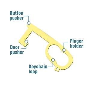 1X позолоченный металлический антимикробный защитный изоляционный вирусы без касания гигиенический брелок для ключей EDC открывалка для двери Лифт артефакт ключ
