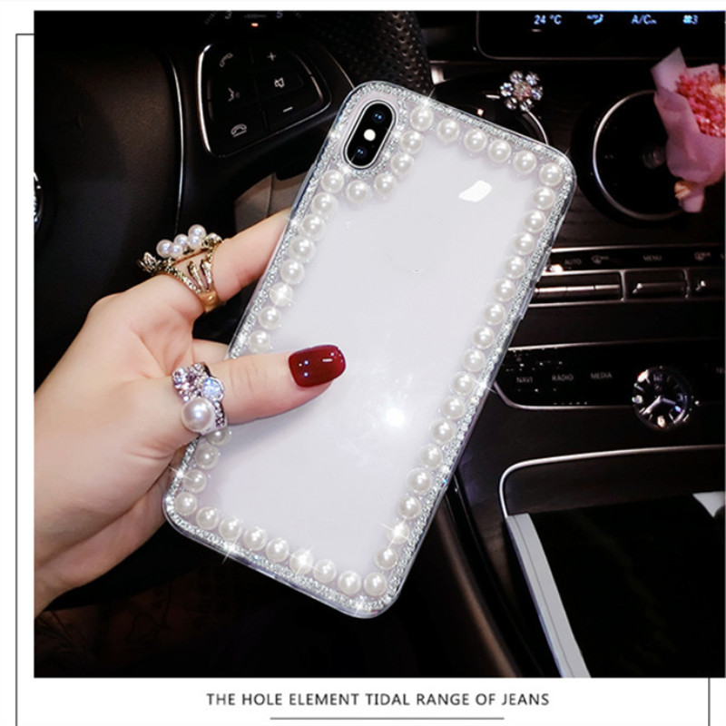Fashion Pearl <font><b>Case</b></font> For <font><b>Samsung</b></font> S10 <font><b>S9</b></font> S8 Plus S6 S7edge Note 5 9 8 10 Plus ThinQ X power 3 <font><b>Korean</b></font> Girl <font><b>Case</b></font> Phone Cover Coque image