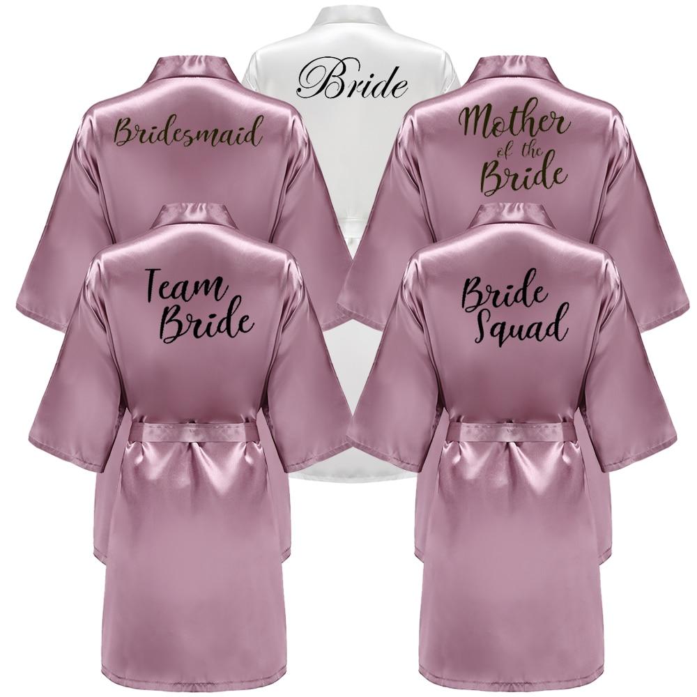Bathrobe Bride Shower Gift Team Sister Wedding Women New Satin