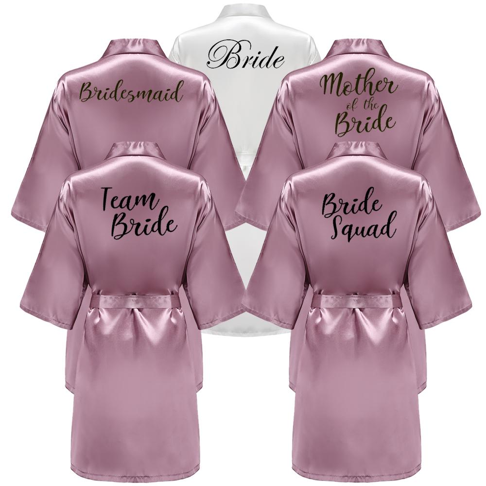 New Bathrobe Bride Satin-Silk Robe Women Bridal Party Sister Team Mother Shower Gift Bridesmaid Wedding Short Robes