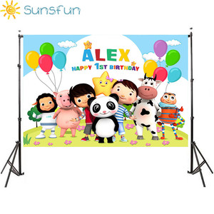 Image 3 - Sunsfun Little Baby Bum Theme Backdrops Newborn Baby 1st Birthday Custom Name and Age Photography Photobooth Birthday Party