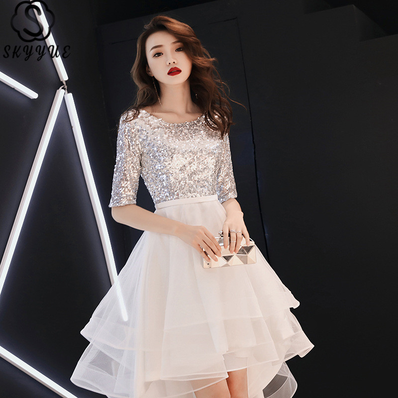Skyyue Prom Dress Short Sleeve O-Neck Tiered Prom Dresses 2019 Sequined Lace Plus Size Custom Color Vestidos De Gala E100